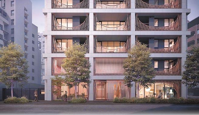 「鐫月」重新詮釋了窗花在建築外觀上的表現。(大陸建設提供)