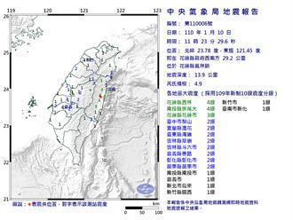 花蓮稍早11時23分出現規模4.9震 最大震度4級