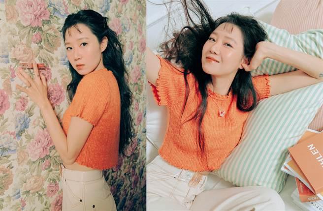 女星孔曉振以特殊的二次元瀏海造型拍彩妝寫真,展現十足少女感。(圖/摘自微博@孔晓振吧 )