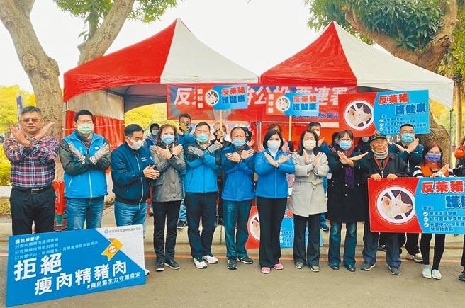 雲林縣長張麗善(左七)9日在綠色隧道號召民眾連署「還我公投」、「反萊豬公投」2項公投案第二階段。(國民黨雲林縣黨部提供/周麗蘭雲林傳真)