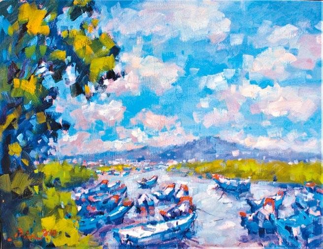 潘蓬彬,八里挖仔尾漁港,10P,油畫。圖片提供/潘蓬彬