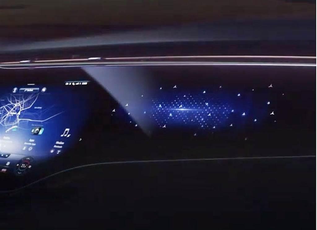 一路延伸到副駕駛座前方!賓士搶先預覽 EQS 電動房車的超巨大曲面螢幕