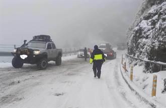 合歡山賞雪 警方提醒民眾掛雪鏈