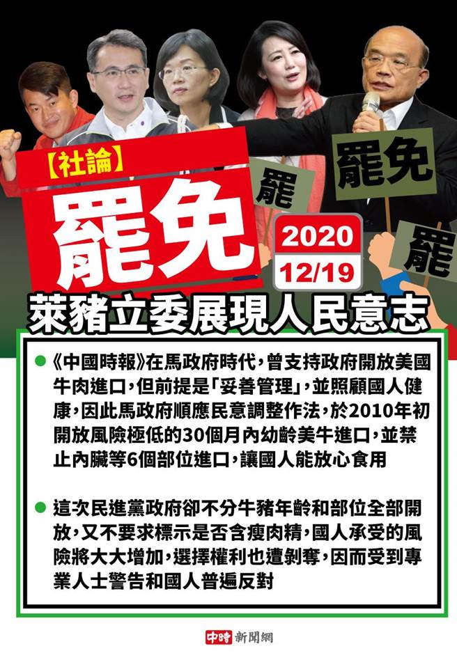 中時社論:罷免萊豬立委展現人民意志。(陳友齡製圖/中時新聞網)