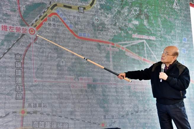 行政院長蘇貞昌10日上午視察「屏東高鐵特定區」。(行政院提供)
