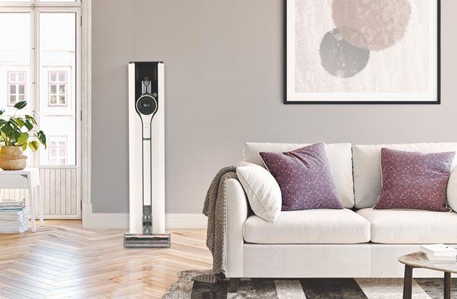 LG在今年CES上推出全新 CordZero ThinQ A9 K+,搭配集塵充電座憑藉其全自動除塵系統。(LG Newsroom)