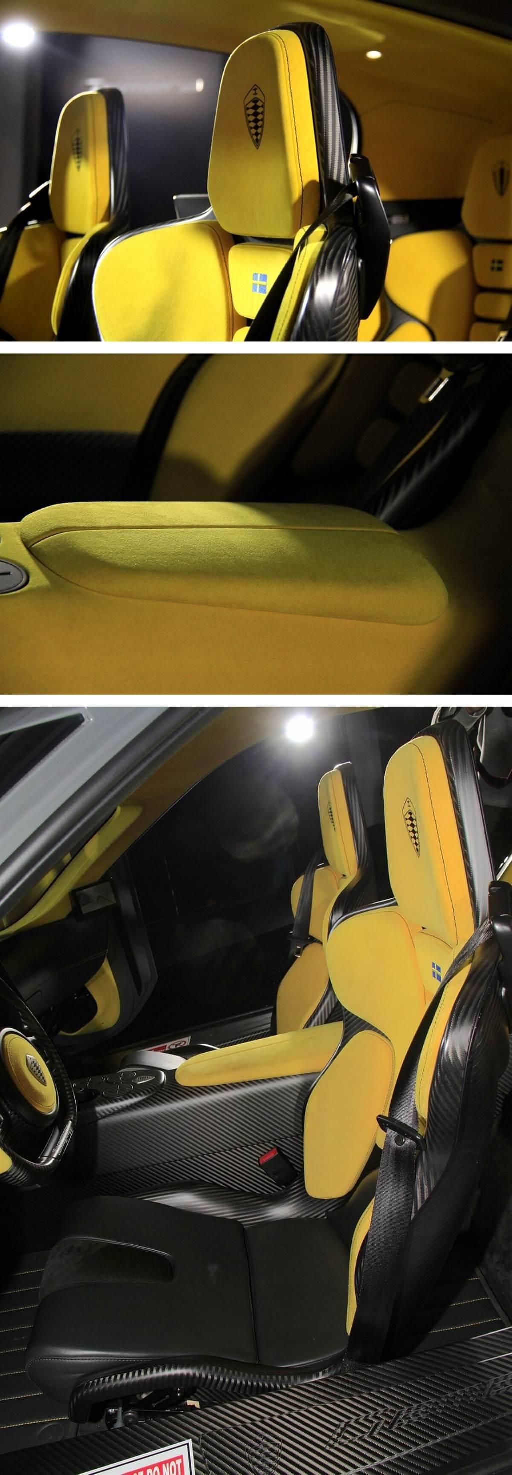 Gemera的座椅採用一體成形碳纖維製作,並且為中空結構,因此重量非常輕,每張僅重17公斤,並且配有電動前後調整功能。再加上所具備3,000 mm長軸距配上蛋型環艙設計,以及全尺寸四人座,而非一般GT超跑常見的2+2配座位配置,能讓四位成人有非常舒適的乘坐姿勢以及無拘束的視野,而每張座椅都採用桶型設計,並配有記憶泡棉及觸感極佳的真皮與麂皮表面,能夠有非常服貼的包覆感,以及非常貼近地面的坐姿,使其始終能保持低重心地行駛。
