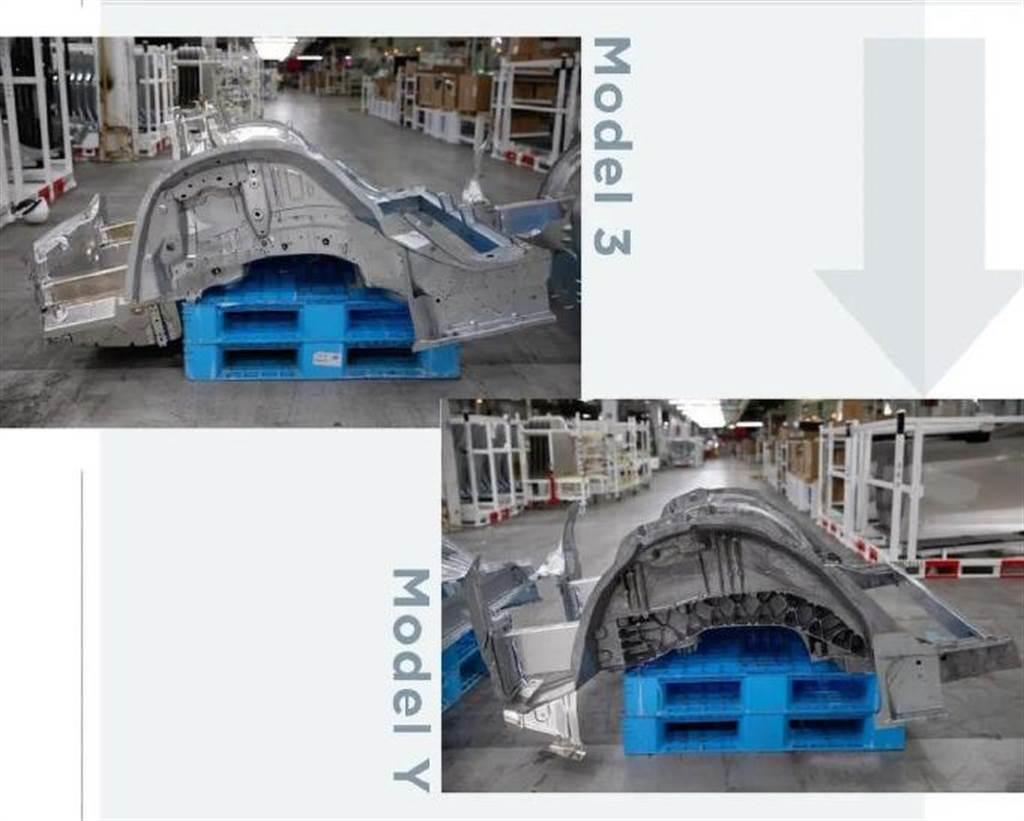 上方照片:Model 3 底盤。下方照片:Model Y 新底盤。