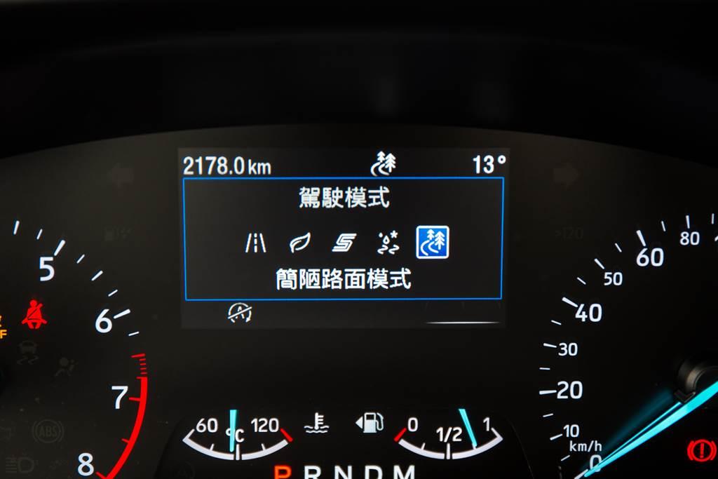 駕駛模式增加防滑模式與簡陋路面模式,藉由TCS、ABS等電控系統的作動方式改變,增加脫困能力與在惡劣路面上的循跡性。