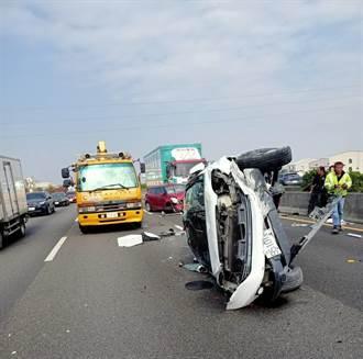 國道中山高麻豆段3車連環撞 2人受傷無生命危險