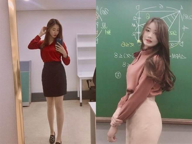南韓正妹數學老師紅到台灣。(圖/IG@ im_ssong1201)