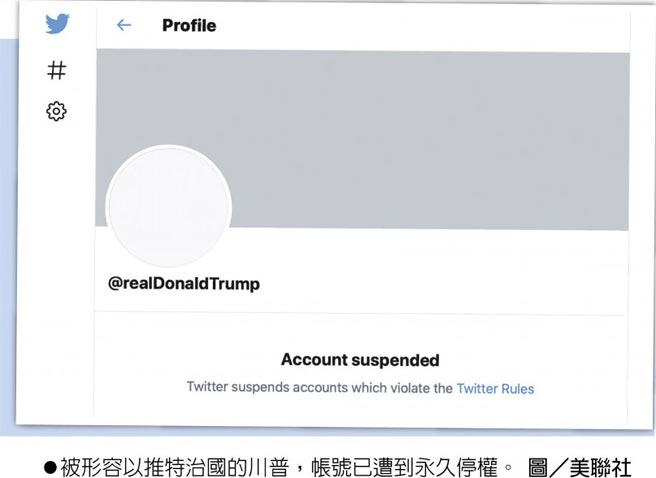 被形容以推特治國的川普,帳號已遭到永久停權。圖/美聯社