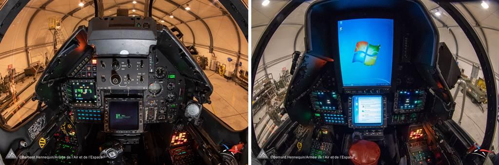 幻象2000D改良後的座艙,左為前座,右為後座。後座的顯示幕出現WINDOWS系統。(圖/達梭航太)