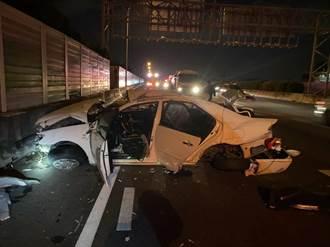 聯合大學4學生開車同遊台中 國道自撞翻9圈1死