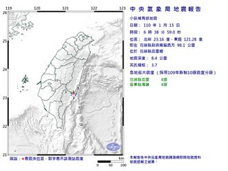 花蓮地震芮氏規模3.7 最大震度4級