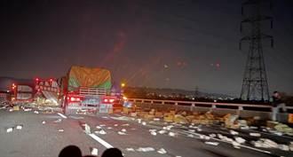 國道1號191公里處3車大追撞  數萬包泡麵灑滿國道駕駛骨折