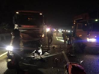 國道3號砂石車、4小客車連環撞 塞爆回堵6公里