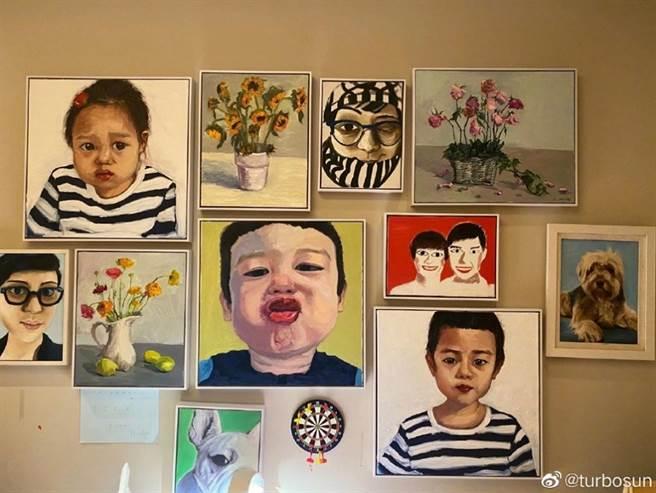 鄧超曾認真畫了一幅畫,但近日遭孫儷吐槽畫畫功力。(圖/ 摘自孫儷微博)