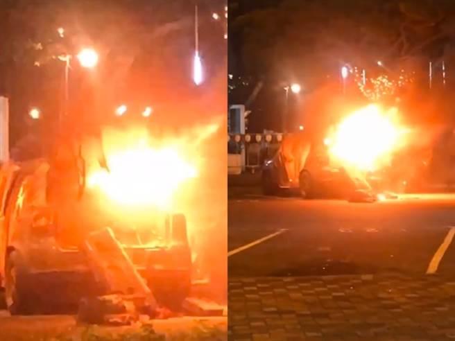 國道1號北上湖口服務區的停車場今(15)發生火燒車事件,當時一名Youtuber達爾的車輛也遭波及,他全程用手機直播現場畫面。(圖/翻攝自達爾instagram)