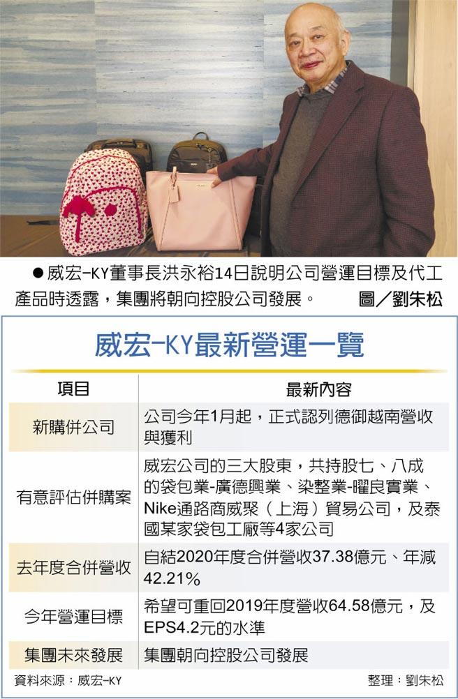 威宏-KY最新營運一覽 威宏-KY董事長洪永裕14日說明公司營運目標及代工產品時透露,集團將朝向控股公司發展。圖/劉朱松