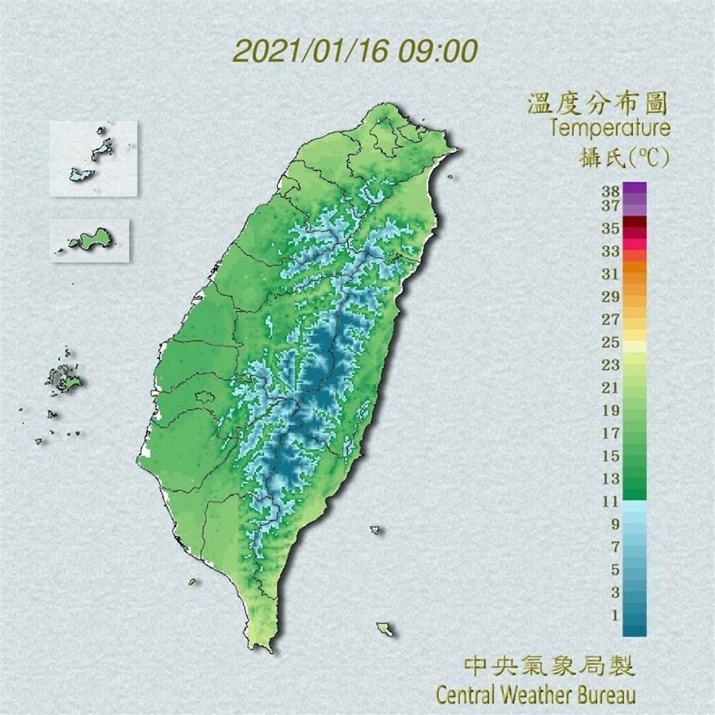 中央氣象局預報指出,今天清晨輻射冷卻影響,各地氣溫仍低,中南部日夜溫差大;下午起強烈大陸冷氣團南下,各地氣溫逐漸下降。(翻攝自中央氣象局/林良齊台北傳真)