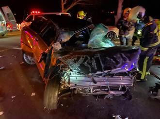 國1凌晨3車追撞成廢鐵 5傷送醫