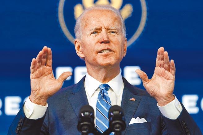 美國總統當選人拜登14日在老家德拉瓦州威明頓發表談話,公布總規模達1.9兆美元的抗疫紓困「美國救援計畫」。(美聯社)