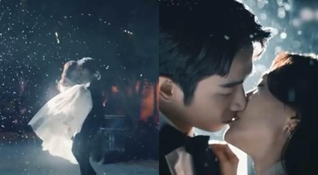 秦嵐和劉以豪在雪地中接吻超唯美。(圖/微博@秦嵐)