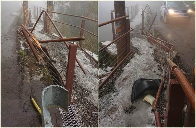啟用才15天 太平山觀雲棧道被撞壞 急徵行車記錄器追肇逃