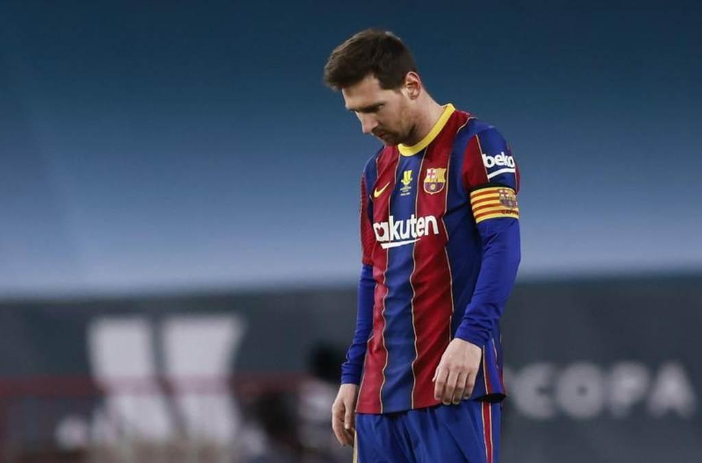 巴塞隆納前鋒梅西踢了753場球,18日在西班牙超級盃收到入隊第一張紅牌。(路透)