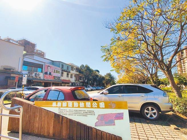 八德區楓樹腳公園停車格長期被占用,預計2月開始收費。(蔡依珍攝)