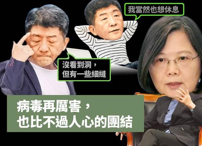 衛福部長陳時中(左、上者)、總統蔡英文(右)。(圖/合成圖,素材取自本報系資料照、達志影像;陳友齡製圖)