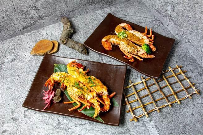 龍蝦二吃—焗烤、蒜蓉蒸。(台中林酒店提供)