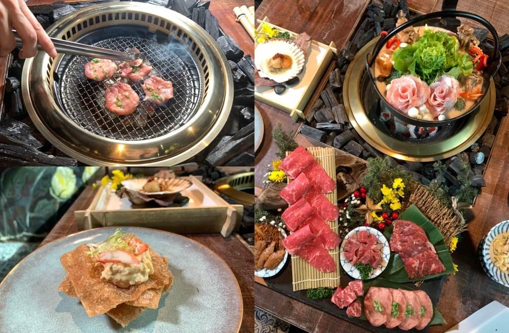 除了華麗鍋物結合燒烤,更搭配成日本會席套餐,光是前菜就有龍蝦、海鑽石鮑魚、掌心大的乾煎扇貝。(圖/楊婕安攝)
