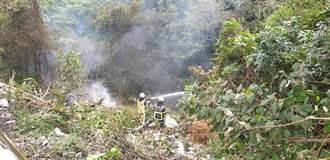 台9戊線油罐車掉落30米山谷起火 駕駛座發現1具焦屍