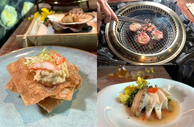 光是前菜就有龙虾、海钻石鲍鱼、掌心大的乾煎扇贝,料好又实惠,目前只限定信义微风店吃得到。(图/杨婕安摄)