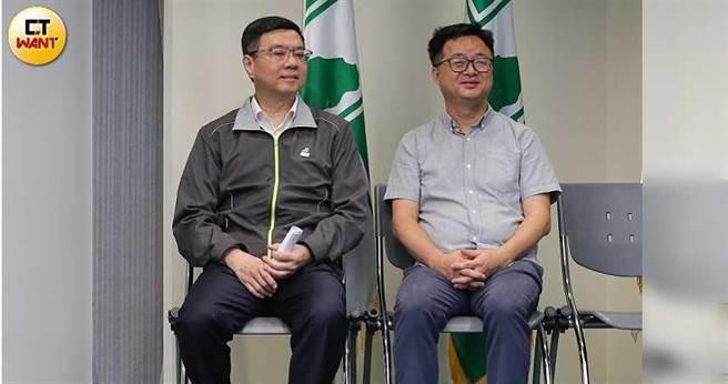 羅文嘉(右)、與卓榮泰(左)傳出與綠色友誼連線結盟,欲直取北市黨部主委之位。(圖/張文玠攝)