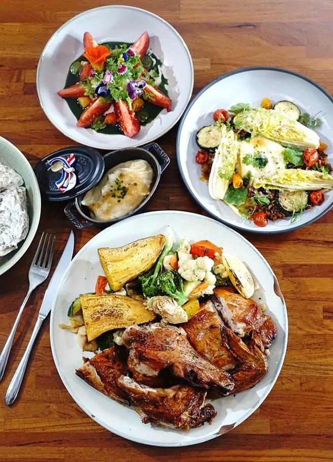 挑食從前菜、主餐到甜點,不斷地以在地食材演繹台魂法菜。(圖/曾信耀攝)