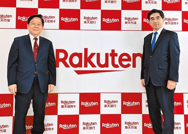 國票金控董事長魏啟林(左)與日本樂天銀行總裁永井啟之(右),雙方與樂天信用卡共同成立樂天國際銀行,是台灣首家正式營運純網路銀行。(本報系資料照片)