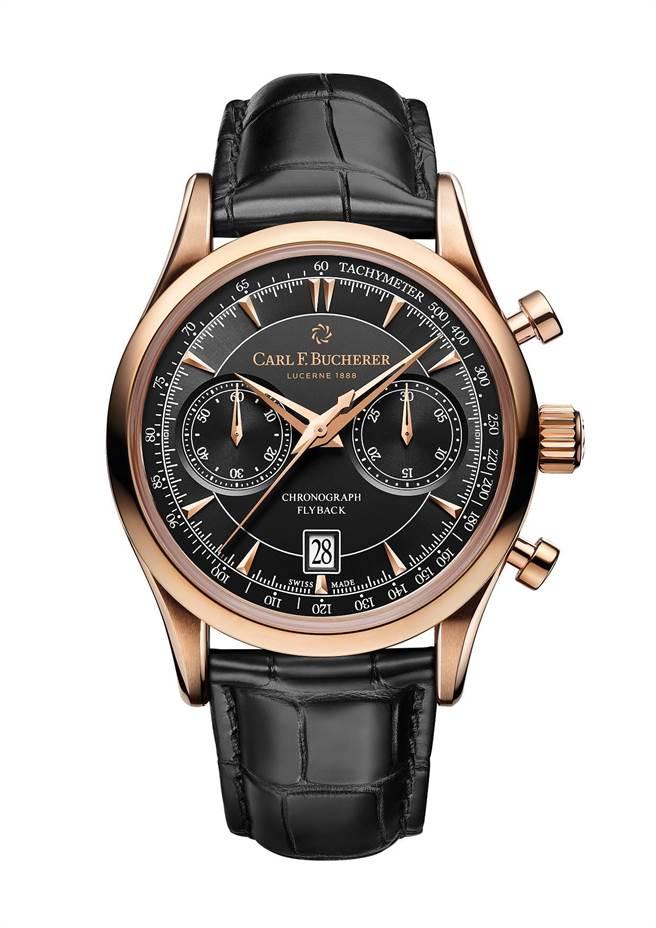 寶齊萊馬利龍Manero Flyback飛返計時碼表,玫瑰金表款, 63萬5000元。(Carl F.Bucherer提供)