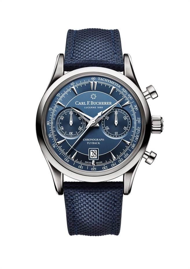 寶齊萊馬利龍Manero Flyback飛返計時碼表,藍色編織表帶款21萬元。( Carl F.Bucherer提供)