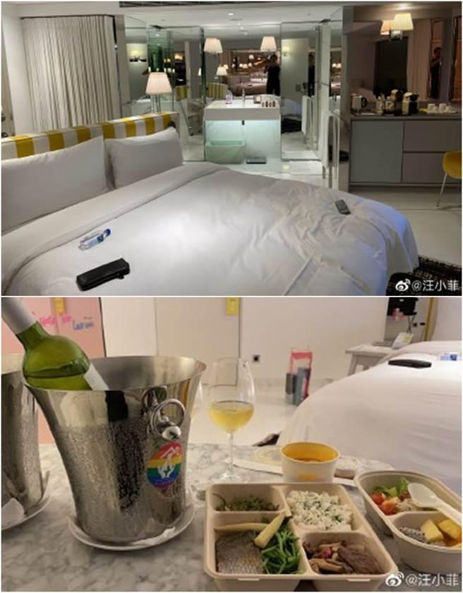 汪小菲曬房間內部和餐點。(圖/翻攝自微博)