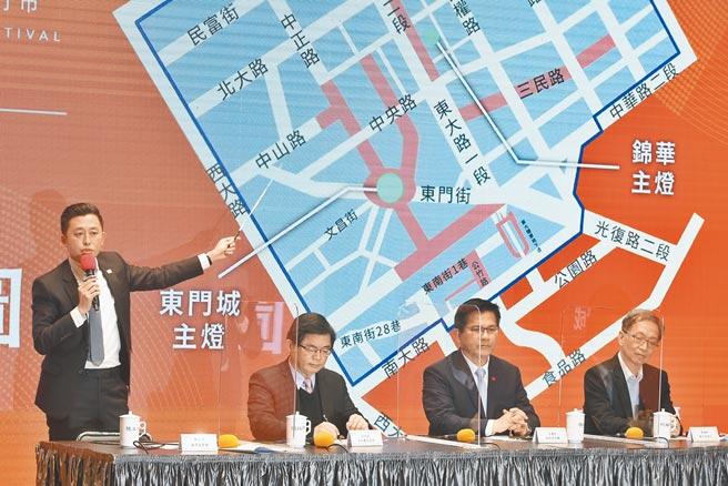 行政院19日召開記者會宣布2021台灣燈會停辦,新竹市長林智堅(左)在會上表示,城區都是燈會場域,這些都是巷道,實聯制很難在城市型燈會執行。(杜宜諳攝)