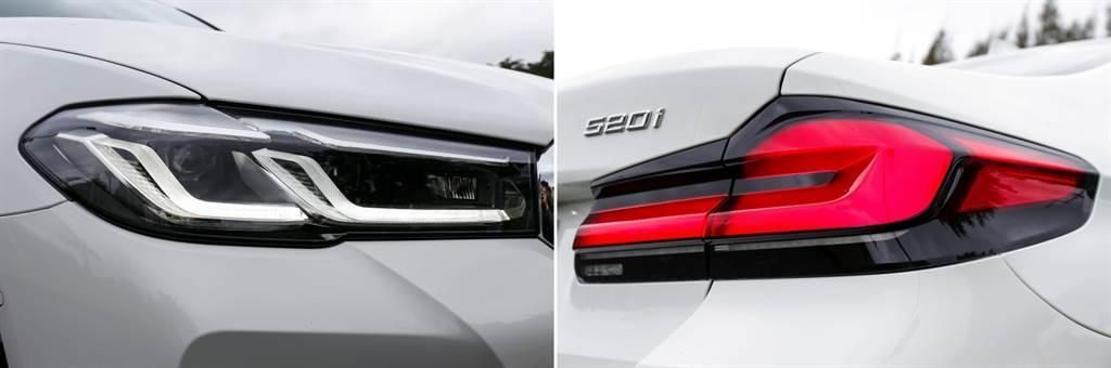 小改款後圓弧的天使眼日行燈則改為雙C型組合,尾燈則改採立體式燻黑設計,520i M Sport首發版另標配智慧型LED頭燈與遠光燈輔助。