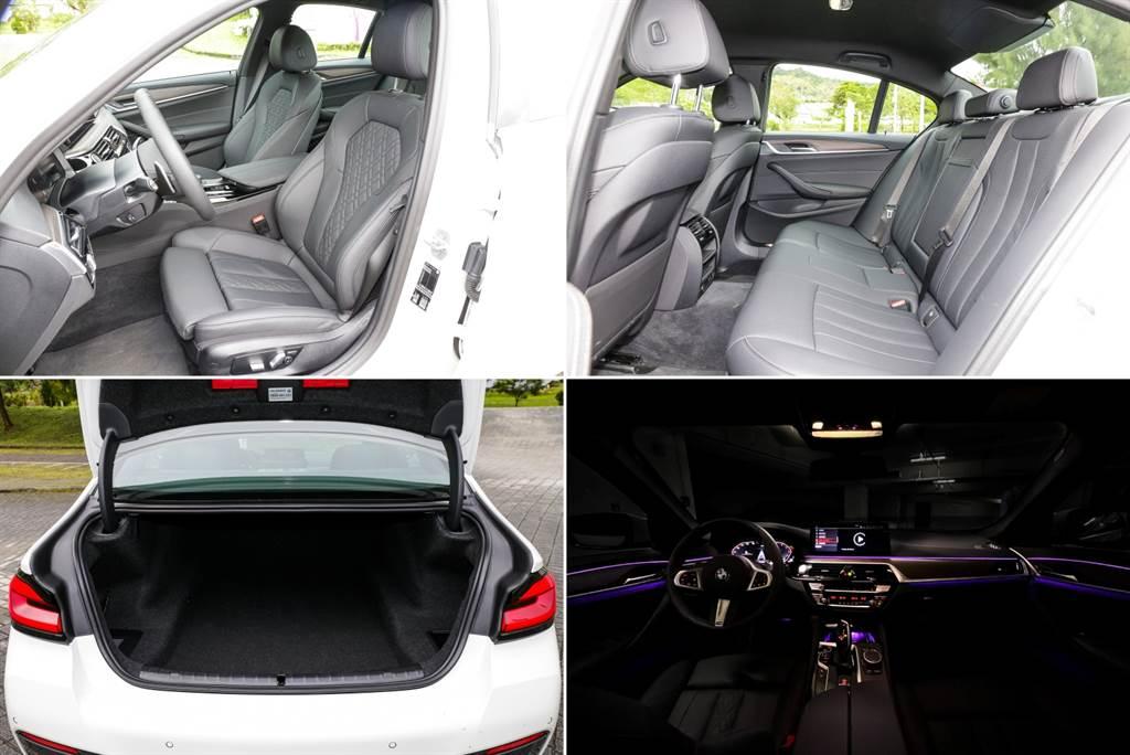 全車系標配多色環艙氛圍燈,520i M Sport前座椅標配Sensatec皮質跑車座椅搭配菱格紋縫線,行李廂容積達530升並具備電動尾門,但後座椅背4/2/4分離傾倒得要選配。