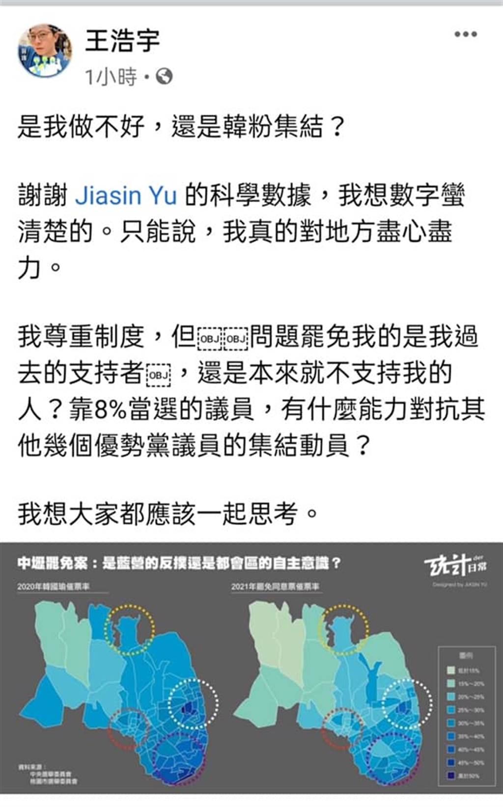 桃園市議員王浩宇臉書。(圖/翻攝自 王浩宇臉書)