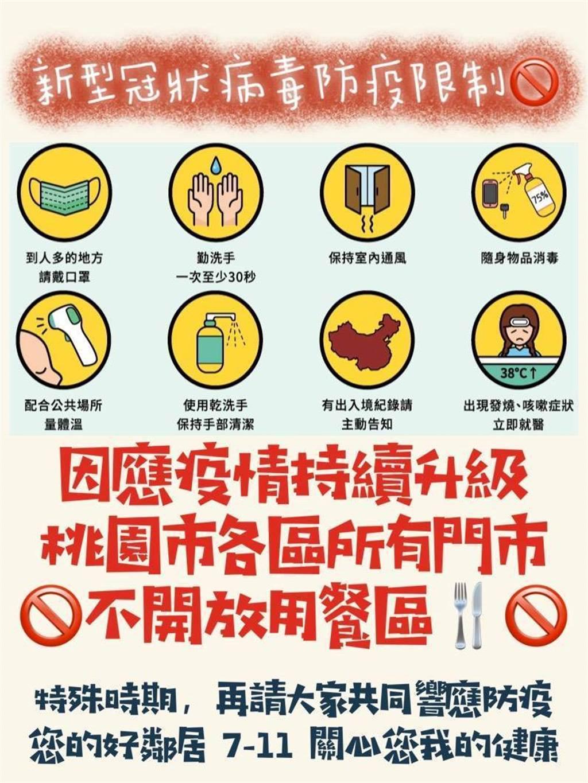 7-11宣布即日起桃園全門市禁止內用。(圖/翻攝網路)