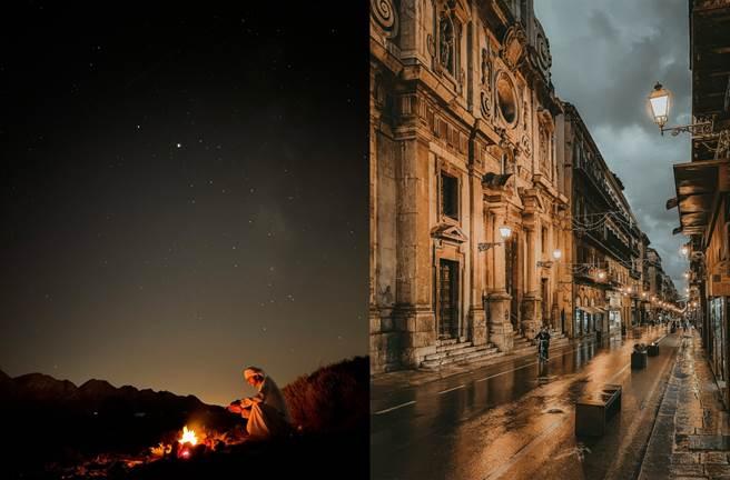 左至右分别是以 iPhone 12 Pro 拍摄(拍摄者Abdullah Shaijie,科威特)、以 iPhone 12 Pro Max 拍摄(拍摄者Calogero Agrò,义大利)。(摘自苹果官网)