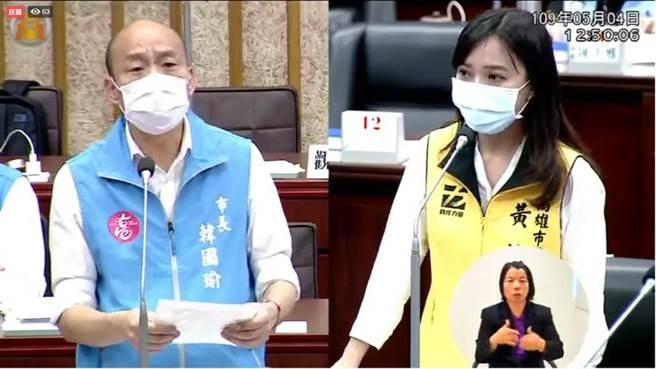 前高雄市长韩国瑜,2020年5月4日赴市议会接受议员黄捷质询。(图/本报资料照)