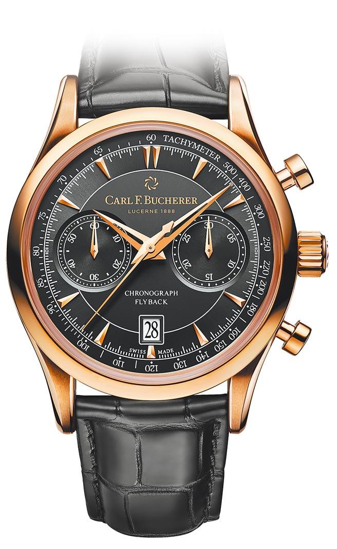 寶齊萊馬利龍Manero Flyback飛返計時碼表,玫瑰金表款,63萬5000元。(Carl F.Bucherer提供)